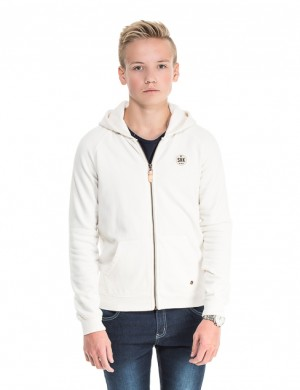Soft brushed hooded zip-through