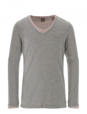 BASIC DOUBLE LAYER V-NECK TEE