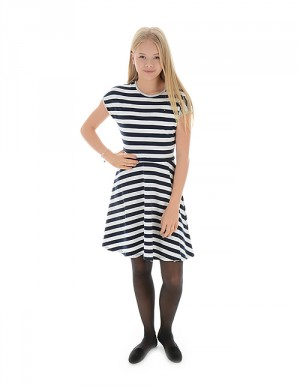 GIRLS STRIPE KNIT DRESS S/S